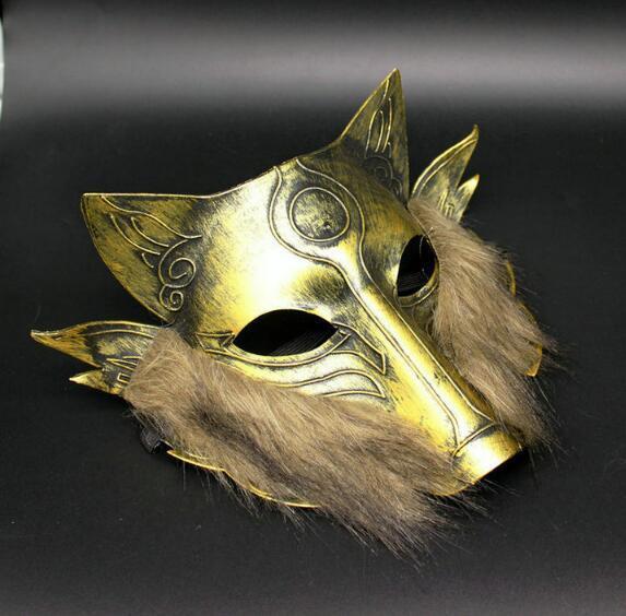 Горячий продавать Хэллоуин Маскарад ретро золотой серебристый животных волки маска волос Волк маска Рождественская вечеринка одеваются костюм