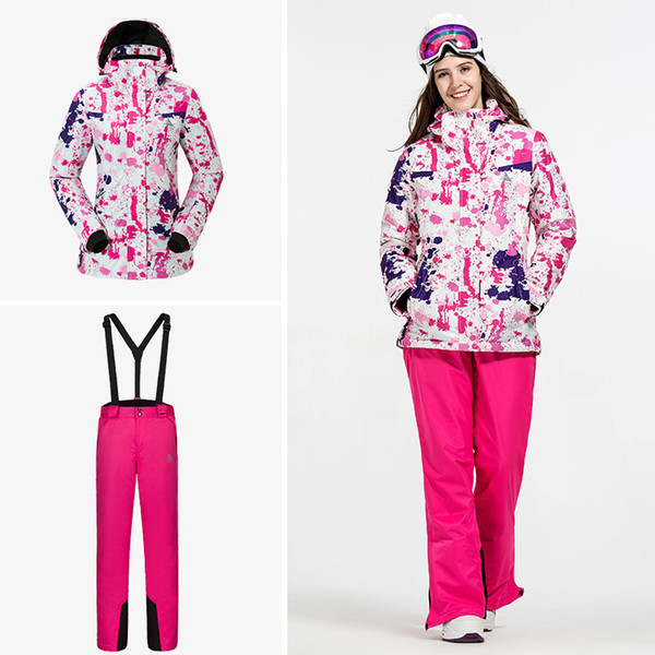Women Ski Suits Suspender Outdoor Sports Warm Windproof Waterproof Breathable Ski- & Snowboard-Bekleidung