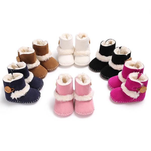2018 New Fashion Cute Buckle Baby Girl Boy Snow Boots Winter Boots Infant Kid Newborn Soft Bottom Shoes 0-18 M