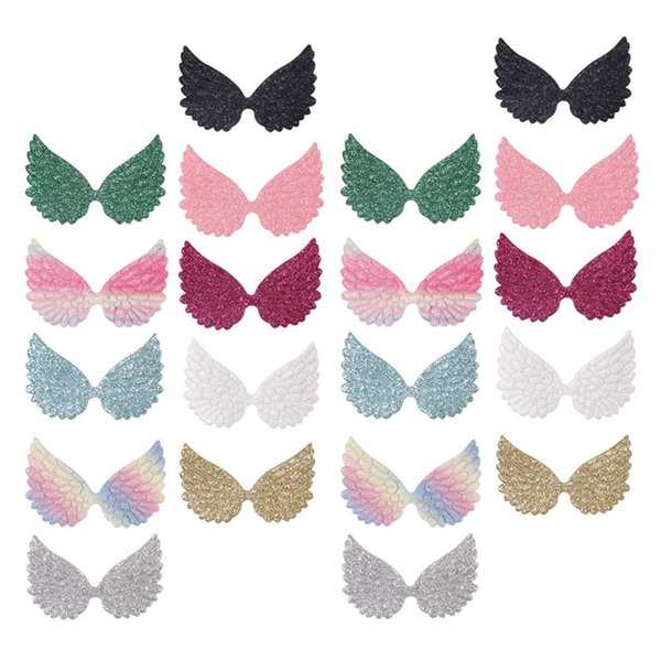 20 pcs/bag Sequin Glitter Wing Patches Colorful Apparel Sewing Patch For Clothes Accessories DIY Sewing Materials Sewing on