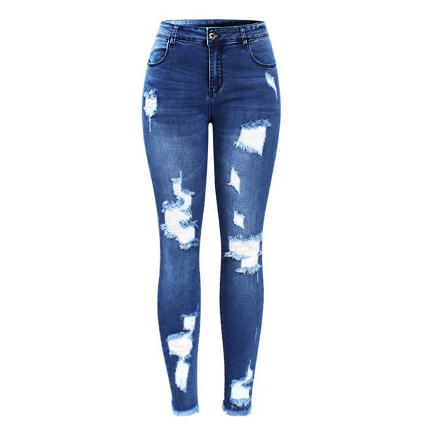 2018 Youaxon New Ultra Elástico Azul Borla Rasgado Calça Jeans Mulher Denim Calças Calças Para As Mulheres Lápis Skinny Jeans