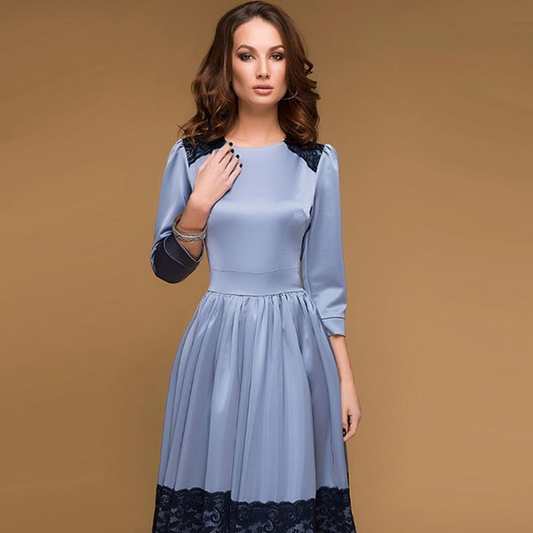 Vintage Women Lace Patchwork Fit and Flare Dress 2018 Autumn New O-Neck Party Dress Elegant Ladies Mid-Calf Casual Dresses