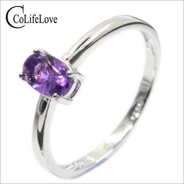 Simple design amethyst ring for engagement 4 mm * 6 mm natural VVS amethyst silver ring genuine sterling silver gemstone ring Y1892704
