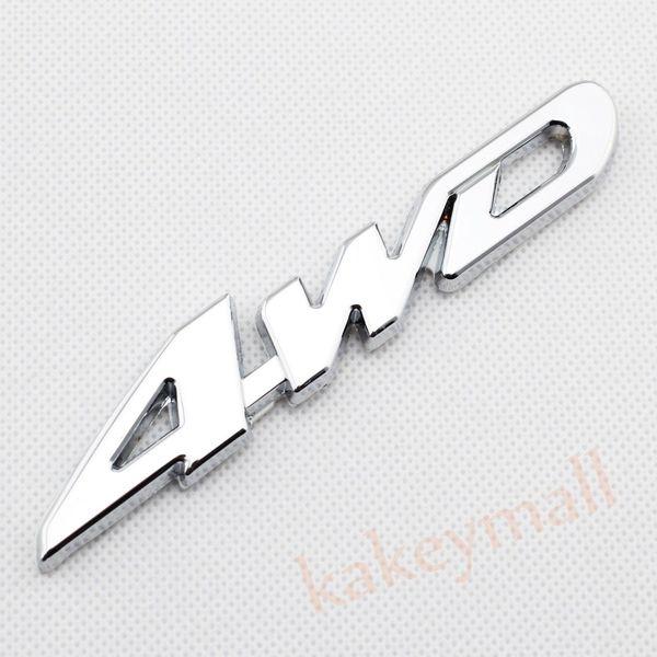 Chrome Car Auto Decorate Accessories 4 WD 4WD Emblems Badge 3D Decal Sticker Metal