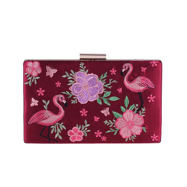 National Chinese Style Women Vintage Floral Red Clutch Purse Bridal Wedding Embroidery Flower Bird Cocktail Party Evening Bag