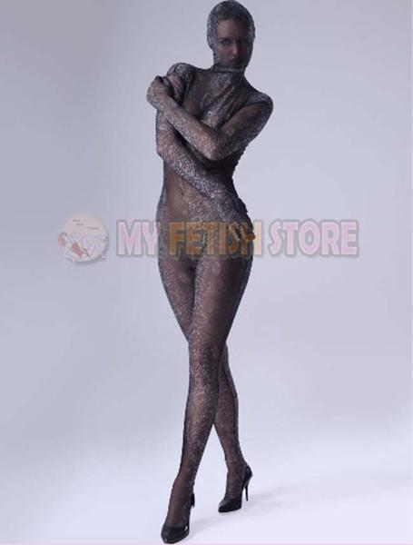 (SL901) Calzamaglia trasparente in seta di qualità del corpo completo Tuta unisex originale Fetish Zentai