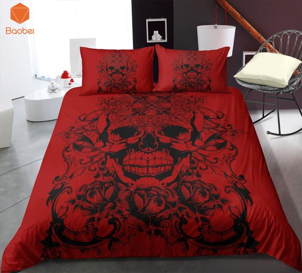 3 Pcs 3D Crânio Vermelho Conjunto de Cama Fronhas Capa de Edredão Colcha Quilt Para Crianças Adultos Rainha Rei Tamanhos Colchas Sj234