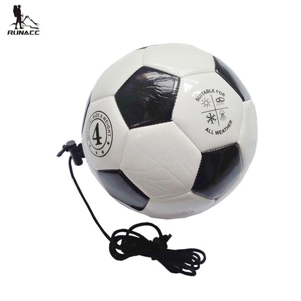 RUNACC Training Soccer Ball Football Portable Practice Soccer Ball with Adjustable Control Cord Teenagers Soccer Practice Size 4