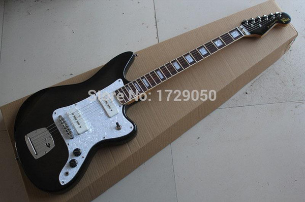 Free Shipping High quality New Arrival jazz master Natural wood transparent black Electric Guitar