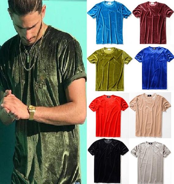 Großhandel Männer 2018 Mens Mens T-Shirt Europäischen Stil Samt T-shirt Rundhals Baumwolle Kurze Ärmel Männliche und Weibliche T-shirts