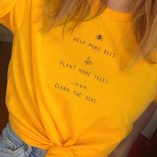 Ajudar Mais Abelhas Camiseta Mulheres Planta Mais Árvores Gráfico Tees Mulheres Salvar Os Mares Gráfico Tees Mulheres Camisas 2018 Transporte da gota