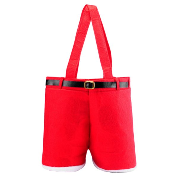 1PC Merry Christmas Gift Treat Candy Wine Bottle Bag Santa Claus Suspender Pants Trousers Decor Christmas Gift Bags