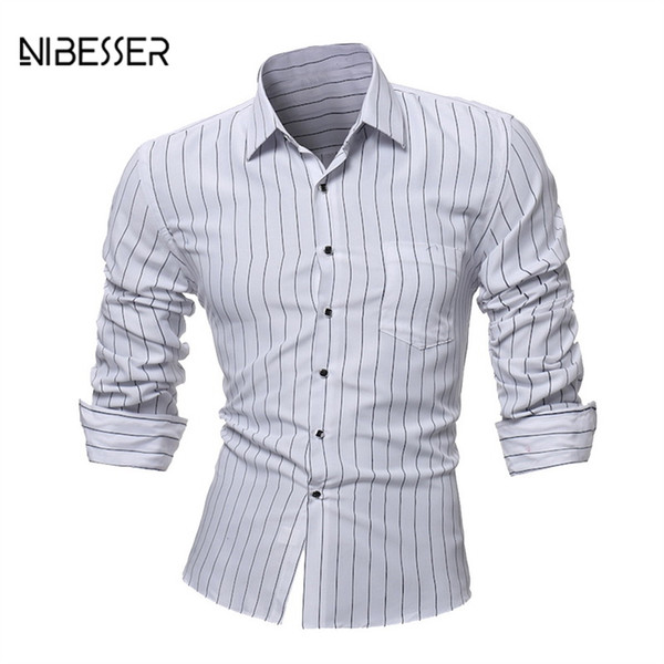 NIBESSER Spring Autumn Striped Printed Shirts Men Plus Size Slim Fit Casual Shirt Long Sleeve Casual Turn Down Collar Male Shirt
