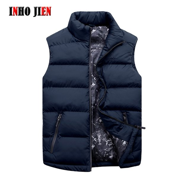 New Brand Fashion Vests Man Casual Stand Collar Sleeveless Solid Men's Jacket Spring Autumn Cotton Padded Vest Coat Men Big Size