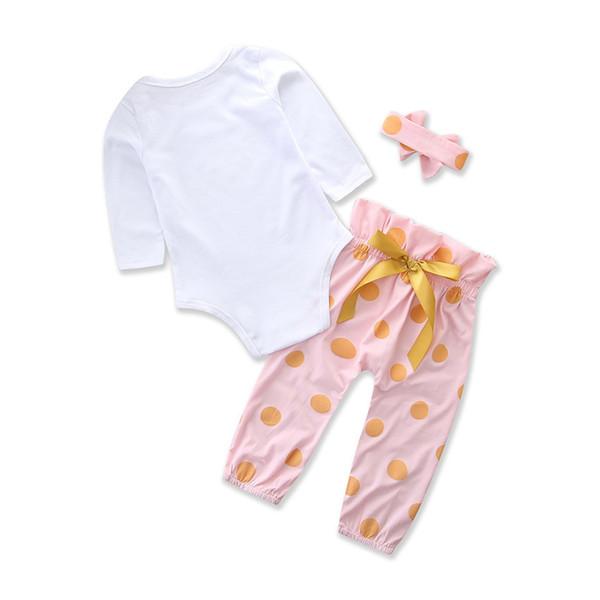 Ropa de bebé recién nacido manga larga mameluco + lunares pantalones largos  diadema 3 piezas niñas conjunto de ropa infantil niño ropa conjunto ce143b5bd97