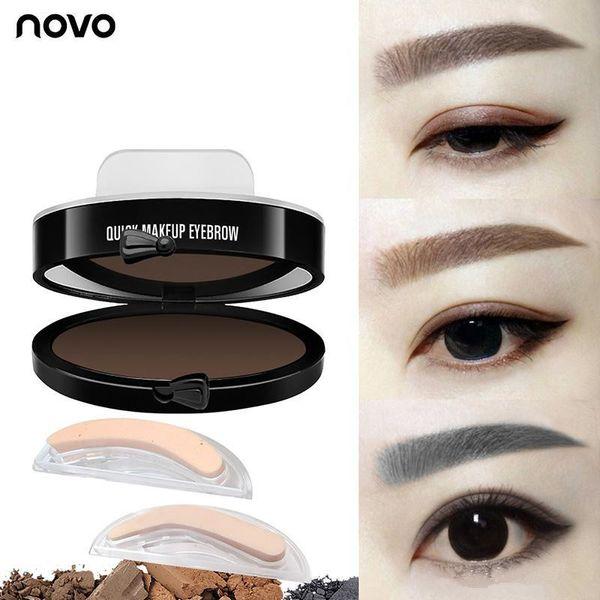 NOVO Eyes Makeup Brow Stamp Seal Eyebrow Powder Waterproof Gray Brown Black Eye Brow Powder with Eyebrow Stencils Brush Tools