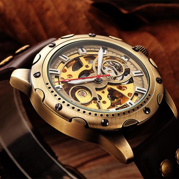 0b17e12a5f1 SHENHUA Retro Relojes Mecánicos Automáticos Hombres Marca de Lujo de Cuero  Esqueleto auto viento Hombres Reloj