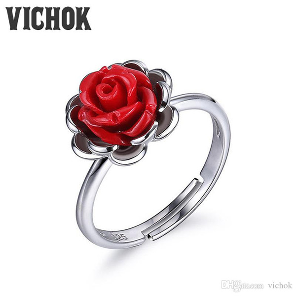 925 Sterling Silver Ring Red Rose Vintage Ring Platinum Color For Women Fine Jewelry Statement Rings Minimalism Style VICHOK