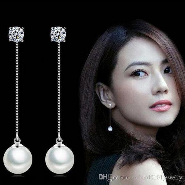 Goddess children temperament female Wedding diamond tassel pearl earrings Studs S925 Sterling Silver long section ear chain shiny earrings