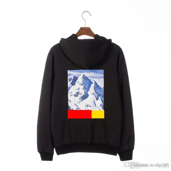 18 men and women Tide brand Snow Mountain Pattern Hoodie Sup union sanded coral fleece head Hip hop loose hoodie new style wholesale