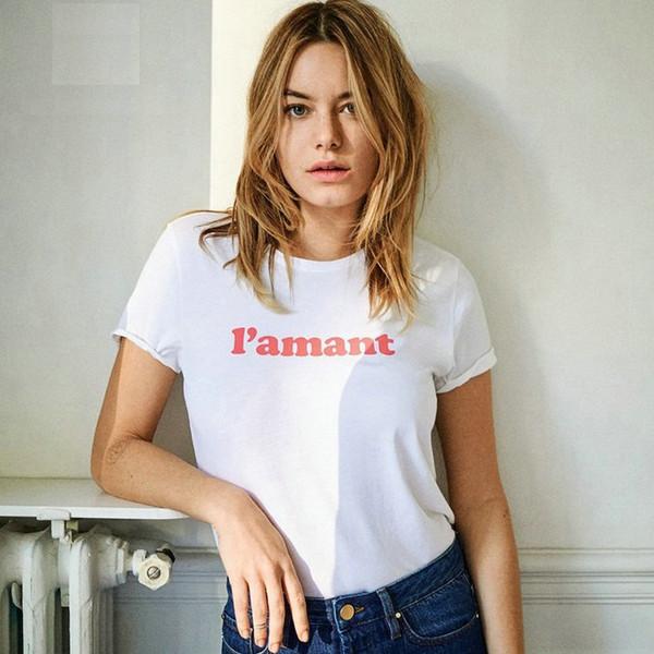 Camiseta francesa Soy amante de la letra vestido de manga corta 100 tees anti pilling de algodón 8 colores de impresión tops Calidad camiseta unisex