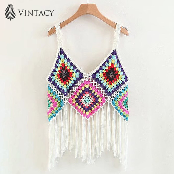 Fringe Tassel Summer Bohemian From Crochet Boho 2019 Chic Crop Gypsy Beach Vest Chenhanyang163 Hollow Tank Tops Out Cami Inspired Knitted Women YIb6mgv7yf