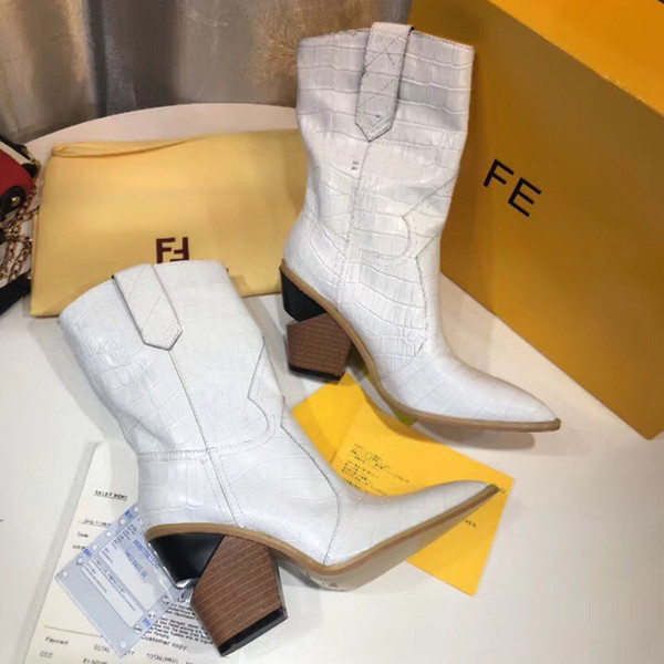 2018 New Leather boots for women Pointed Toe Cowboy Boots fashion brand chunky heel thigh Booties winter boots With Original box