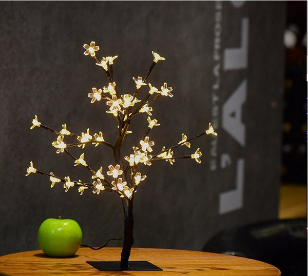 26.8Inch 96leds Cristal Led Cherry Blossom Bureau Top Bonsaï Arbre Lumière Noir Branches pour la Fête À Domicile De Mariage De Noël Décor Extérieur Intérieur