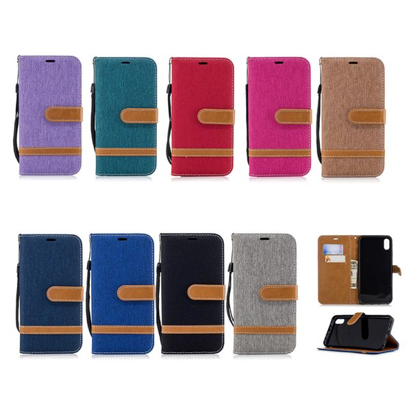 Cowboy Jean Canvas Hybrid Wallet Funda de cuero para iPhone X XR XS Max 8 7 6 Samsung S8 S9 S9 Plus Nota 9 J2 Pro A6 A8 J4 J6 2018 P20 Mate 20