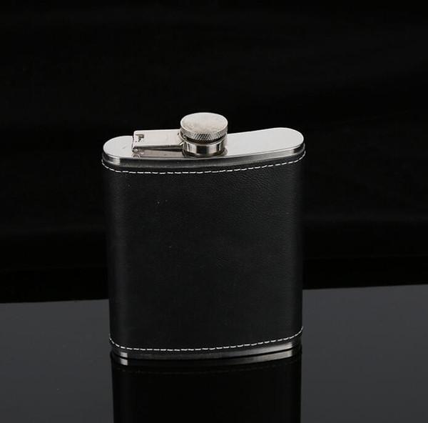 Flachmann-rostfreier Stahl-Flagon-Wein-Topf-im Freien beweglicher PU-lederner Abdeckungs-Flachmann-Wasser-Flaschen-Hydrations-Gang GGA663 40PCS