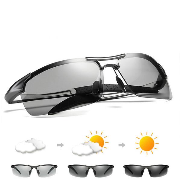 Aluminium Magnesium Photochromic sunglasses Chameleon Polarized sun glasses women Men All day change color for Snow light shades