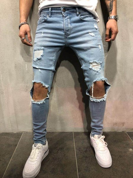 Urban Style Men Pencil Pants Mid Waist Jeans Fashion Slim Fit Ripped Jeans Denim Clothing Trousers Long Frayed Pants
