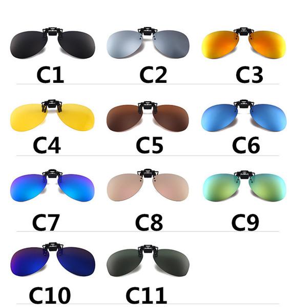 20PCS New Cool polarized lens clip on sunglasses men's clip-on sunglasses ladies ultra-thin round glasses clip 11colors