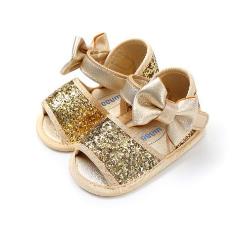 2018 Princess Baby Infant Kids Girl Summer Sandals Shoes Brand New Toddler 3 Style Sequined Cloth Solid Bowknot Flat with Shoes