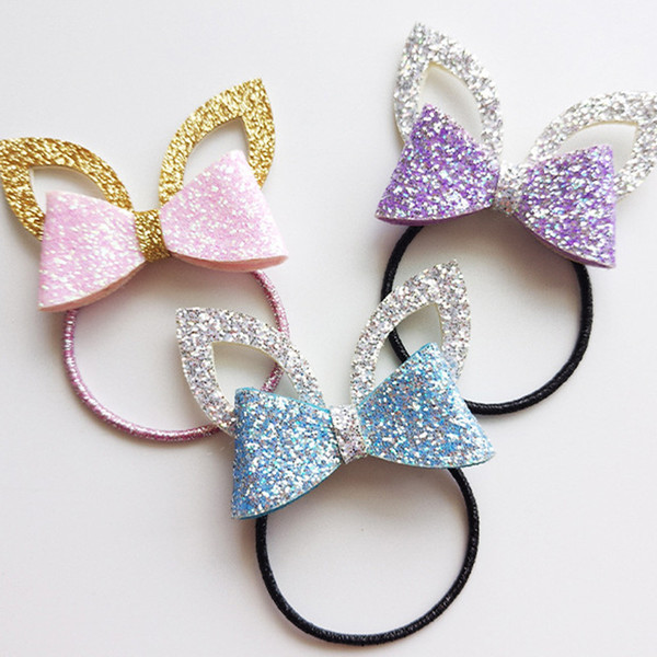 Girls glitter hair bows thick bobbles or hair clips glitter hair accessories