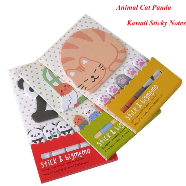 Animal Cat Panda Cute Kawaii Sticky Notes Memo Pad School Supplies Planner Stickers Paper Bookmarks Korean Stationery