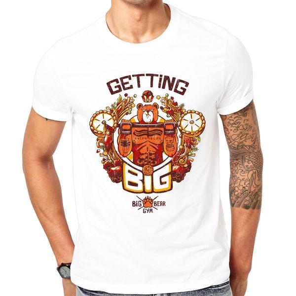 Popular Fashion Men Tops 2018 Summer Latest Print Design Getting Big Bear Novelty T-shirt Funny Bear Shirt Tops Can Be Customize