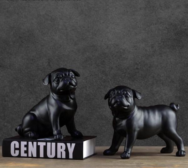 Black white creative resin Pugs dog figurines vintage dog statue home decor crafts room decoration objects resin animal figurine