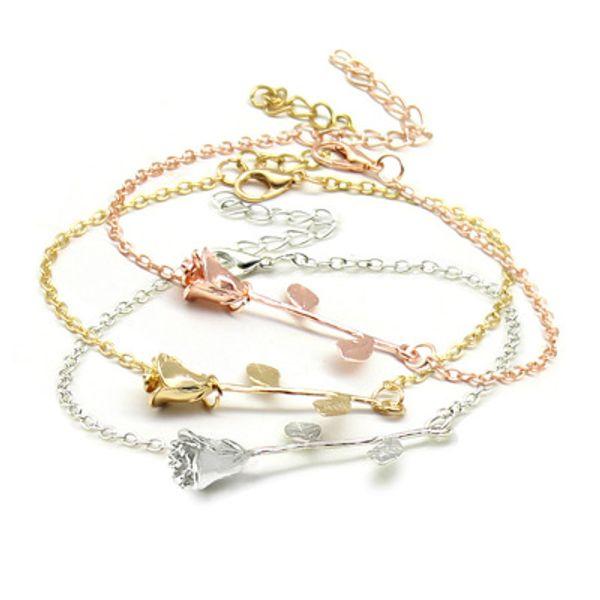 Fashion Rose Flower Charm Bracelet For Women Girl Bracelet & Bangle Adjustable Mothers Day Gift Charm Bracelet Jewelry Girlfriend