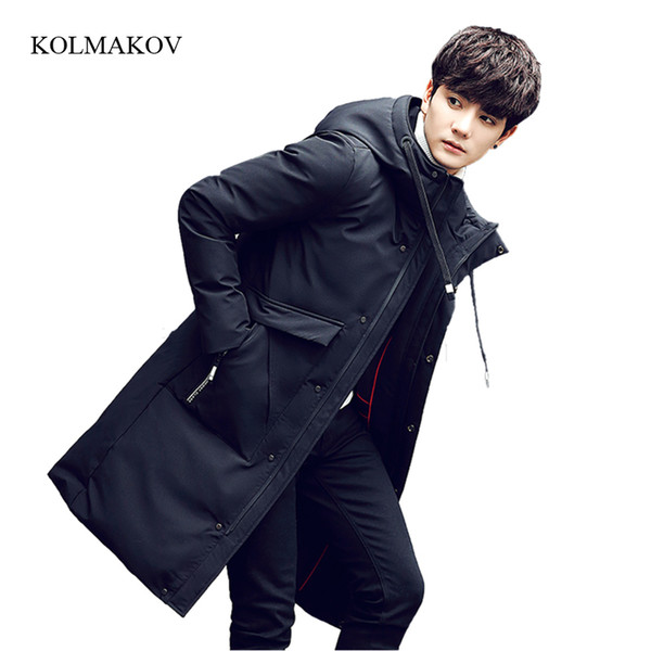 2017 new arrival winter style men boutique long down coats fashion casual hooded zipper trench men's solid slim coat size M-3XL