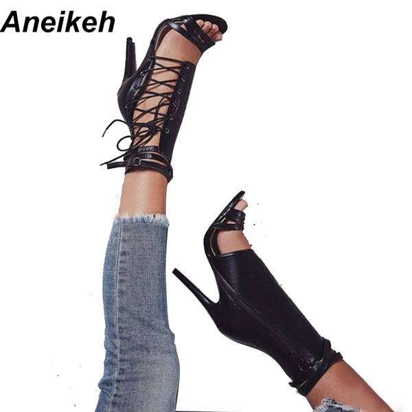 Aneikeh Seksi Bayanlar Ayakkabı Topuklu Yaz Siyah / Kayısı Parti Ayakkabı Moda Tek Yan Çapraz Strappy Yüksek Topuk Sandalet Womens