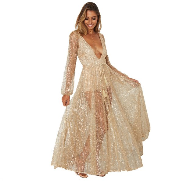 Lady sexy see-through evening dress women champaign deep vneck long lantern sleeve hot drilling sash pleated dress long gown