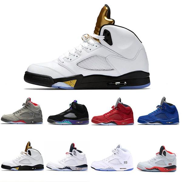2018 new Olympic Metallic Gold5 mens Basketball Shoes OG metallic Gold Raging Bull Black Metallic Space jam Fire Red Sport Sneakers