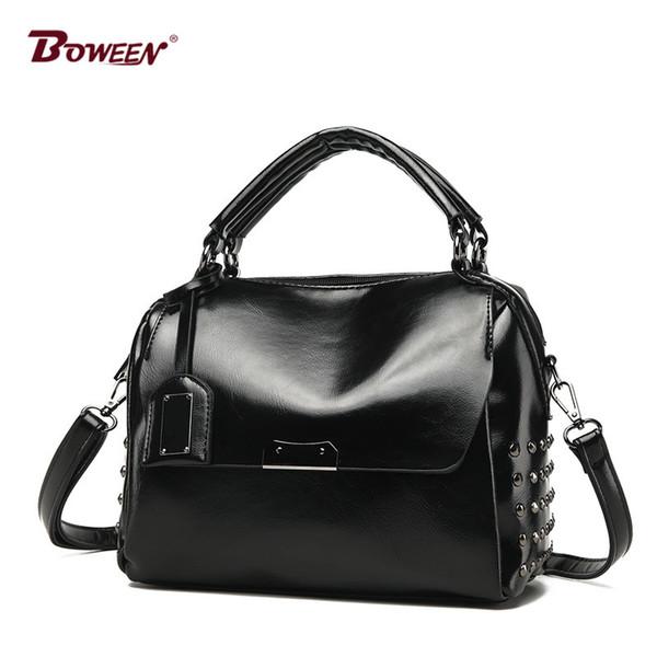 2018 new pu leather handbag women bag European American style fashion solid Ladies Shoulder Bags Vintage hand bag Female Rivet