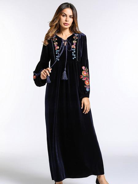 best selling long sleeve Velvet Maxi long Dress women Autumn Winter Flower Embroidery warm tunics lace up collar muslim black dress
