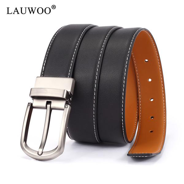 LAUWOO Cintura con fibbia rotante Cinture in pelle nera per uomo Cintura fibbia in metallo vintage Cinturino da uomo