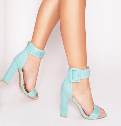 Rosa menta verde faux pelle scamosciata donne pompe peep toe tacchi alti donne sandali fibbia alla caviglia cinturino con cinturino tacco donna scarpe
