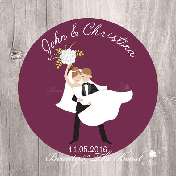 Customized Personalized Wedding Burgundy Bride And Groom Gift Tags