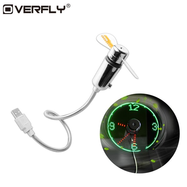 Overfly 2PCS Mini USB Fan Gadgets Flexible Gooseneck LED Clock Cool For Laptop PC Notebook Time Display Durable Adjustable
