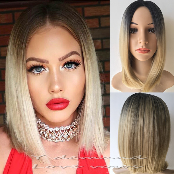 Wholesale Ombre Bob Wigs Two Tone Blonde Short Cut Style Straight Synthetic Hair Wig for Any Skin Color
